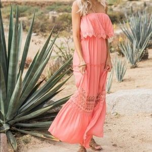 NWT coral lace strapless maxi dress